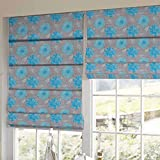 Presto Bazaar Blue Floral Printed Window Blind (60 Inch X 44 Inch)