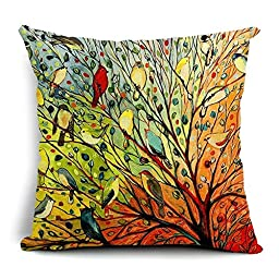 wendana Decorative Throw Pillow Covers Tree and Multi Birds Pillow Cases Zippered Cushion Cover 18 x 18
