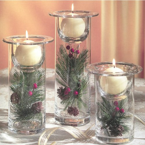 glass hurricane 3 pc candle holders filled with winter seasonal holiday florals decorative - How To Decorate Votive Candle Holders For Christmas