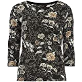Ex Dorothy Perkins Floral Black Knitted Top Ladies Thin Knit Jumper Diamante NEW[UK 12]