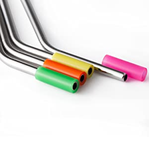 YIHONG Set of 4 Reusable Drinking Straws, Bent Stainless Steel Metal Straws for 20 30 oz Yeti Tumbler, RTIC, Tervis, Ozark Trail, Starbucks, Mason Jar
