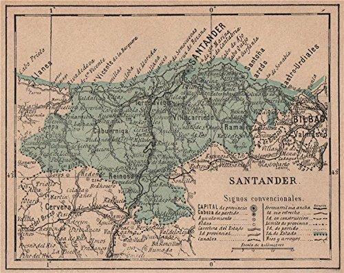 cantabria-santander-mapa-antiguo-de-la-provincia-1908-old-map-antique-map-vintage-map-spain-maps