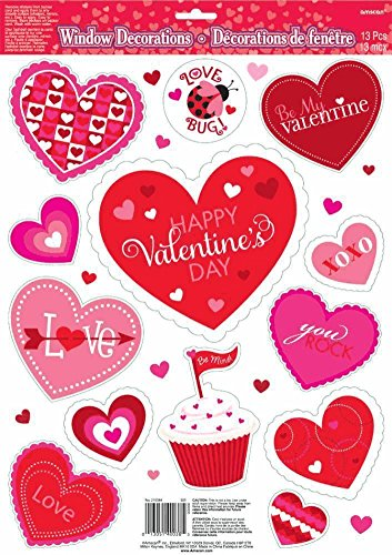 Amscan Valentines Vinyl Window Clings 13/pkg