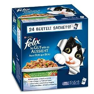 Felix Katzennassfutter So gut wie es aussieht Fleisch & Fisch Mix mit Gemüse 100 g, 24er Pack (24 x 100 g)