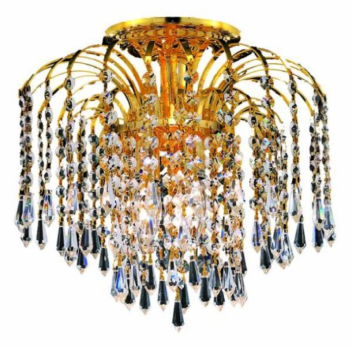 Elegant Lighting 6801F16G/Rc Falls 16-Inch High 4-Light Flush Mount, Gold Finish With Crystal (Clear) Royal Cut Rc Crystal front-681267