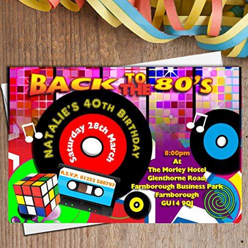 10 Personalised 80s Birthday Party Invitations (any age)  Printed on 240gsm glossy card. Includes envelopes.