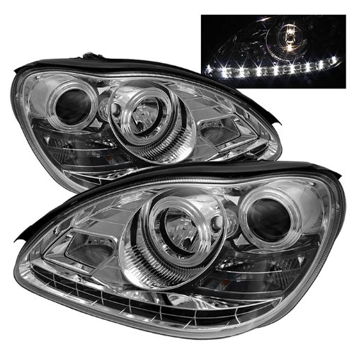 Mercedes Benz W220 S-Class DRL LED Halo Projector Headlights Chrome