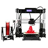 Anet A8 Desktop i3 DIY 3D Printer Kit with Large Print Heated Bed Compatible for PLA ABS Wood 1.75mm Printing Filament (Color: Black)