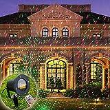 COOSA Projecteur de Lumiere Projecteur Extérieur Lumimère de Jardin Lampe Décorative de Noël avec Lumières Rouge et Verte pour Pelouse / Jardin / Décoration murale avec Télécommande...