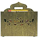 Butterfly Homes Wood Magazine Rack, 14 X 10 X 7, Black Gold