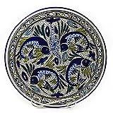 Le Souk Ceramique Round Platter, Aqua Fish Design