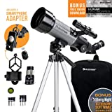 Celestron - 70mm Travel Scope DX - Portable Refractor Telescope - Fully-Coated Glass Optics - Ideal Telescope for Beginners - Bonus Astronomy Software Package - Digiscoping Smartphone Adapter (Color: Gray/Black, Tamaño: Travel Scope 70)