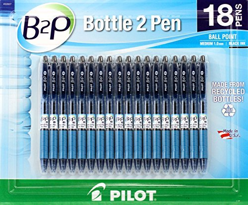 Pilot B2P - Bottle to Pen - Retractable Ball Point Pens Made from Recycled Bottles, 18 Pen Pack, Medium Point, Black Ink (32827)