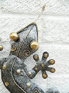 Metal Wall Art Gecko Lizard - Silver