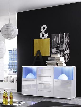 Dreams4Home Sideboard 'Media', Wohnzimmer Wohnzimmermöbel Vitrine Wohnzimmerschrank Anrichte Kommode, weiß / weiß Hochglanz, inkl. Beleuchtug