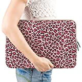 PLEMO Leopard's Spots Canvas Fabric 13-13.3 Inch Laptop / Notebook Computer / MacBook / MacBook Pro / MacBook Air Sleeve Case Bag Cover, Pink