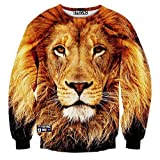 CHICOCO Unisex Visual Lion Head 3d Digital Printed Casual Pullover Sweatshirts M