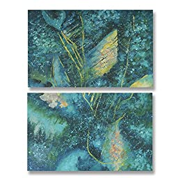 Neron Art - Handpainted Abstract Oil Painting on Gallery Wrapped Canvas Group of 2 pieces - Sacramento 12X16 inches