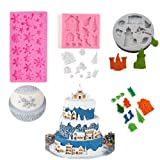 BOZOA Christmas House Mold Snowflake Fondant Mold Christmas Decor Mold for Cake Tools Gumpaste Mushroom Chocolate Candy Clay Mould (Set of 3) (Color: Pink, Grey)