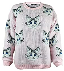 The Home of Fashion Womens Baby Pink Multi Cat Kitten Face Long Sleeved Chunky Knitted Jumper