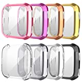 8 Pack Screen Protector Case for Fitbit Versa, Haojavo Soft TPU Slim Fit Full Cover Screen Protector for Fitbit Versa Smartwatch Bands Accessories (Color: black+pink+gold+silver+clear+champagne+gray+purple, Tamaño: 8 PACK)