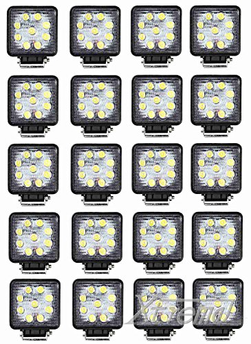"Xtreme® 4"" Inch 9 Led 27 Watt 4X4 Square Cube Led Work Lamp Light 2160 Lumen Lamp Offroad Light For Truck, 4Wd, Atv, Utv, Polaris Ranger, Jeep, Truck, Tractor, Boat (20 Pack, 27W Square, Spot Light)"