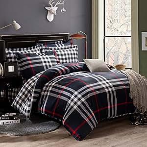 qzzielife 3 tlg bettwaesche set kariert aus 100 baumwolle 1 bettbezug 2 kopfkissenbezuege. Black Bedroom Furniture Sets. Home Design Ideas