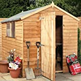 8ft x 6ft Overlap Apex Single Door Wooden Storage Shed With Windows - Brand New 8x6 Wood Sheds