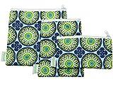 Wegreeco Premium Reusable Snack Bags - Set of 3 - Reusable Sandwich Bags(Funky Flower)