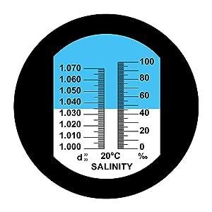 Aquarium Salinity Refractometer with ATC Function,Saltwater Test Kit for Seawater, Pool, Aquarium, Fish Tank.Dual Scale: Specific Gravity & Salt Perce