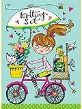 Rachel-Ellen-Schreib-Set-Mdchen-auf-Fahrrad
