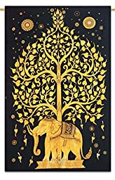 Rajasthali Tree of Life, Hippie Tapestries, Bohemian Boho Tapestry, Wall Hanging, and Bedspread (Golden)