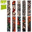 BMC Cool 10pc Biker Inspired Fake Temporary Tattoo Sleeves Body Art Arm Stockings - Designs Dragon, Dancer, Etc.
