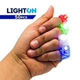 LED Finger Lights by Light On - Rave Gear Accessories Perfect for Rave Parties, Kids Party, Party Favors, Events, Sleepovers or Just For Fun! 50pcs