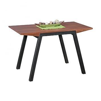Finebuy table à manger 120 x 76 x 70 cm à partir de bois MDF | table à manger carrée en noyer optique | Robuste table de cuisine dans une couleur brun foncé | Meubles de salle à manger dans le design contemporain