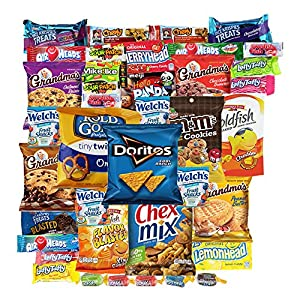 Cookies Chips & Candies Variety Pack Bundle Assortment Includes Doritos Goldfish Laffy Taffy Rice Krispies Sour Patch Oreos Jolly Ranchers Includes Recipes By Custom Varietea Bulk Sampler 40 Count