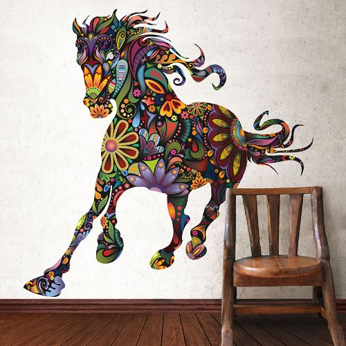 Colorful Floral Horse Wall Sticker Decal - Peel & Stick and Removable