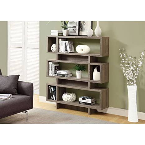 Monarch Reclaimed-Look Modern Bookcase, 55-Inch, Dark Taupe