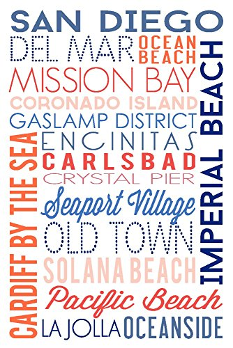San Diego, California - Typography (9x12 Collectible Art Print, Wall Decor Travel Poster) (Oceanside Ca compare prices)