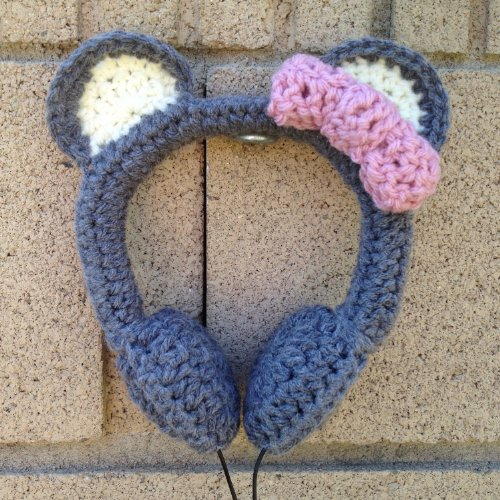Sweet Gray Bear With Pink Bow Crocheted Headphones - Vegan & Made In Usa
