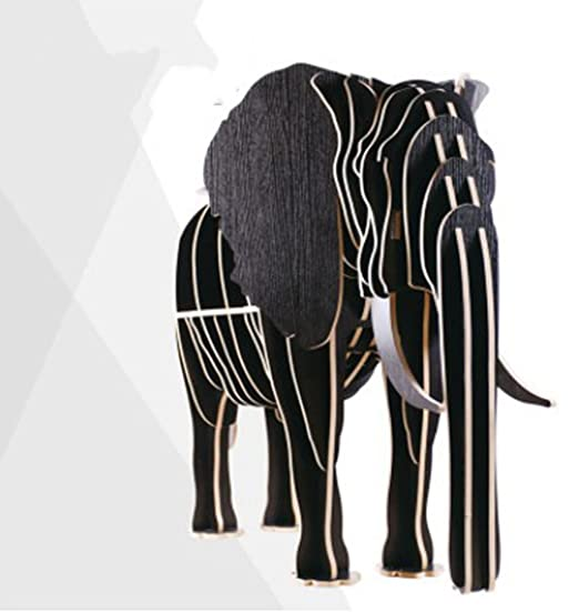 Scaffali di legno creativi di GZD Scaffali di elefante di legno Modellazione di animali Scaffali di legno creativi 70 * 27 * 113cm , black