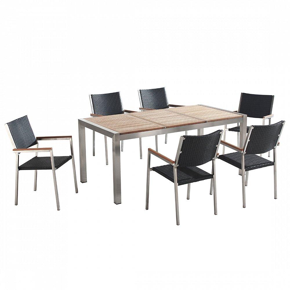 Gartenmöbel - Edelstahltisch mit Holzplatte 180cm dreifach mit 6 x Rattan Stühle - GROSSETO
