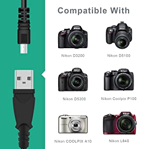 LANMU UC-E6,UC-E23,UC-E17 USB Cable Data Transfer Cord Replacement Cable Compatible with Nikon Digital Camera SLR DSLR D3200 D3300 D5300 D7200 D750,Coolpix L340 L32 A10,2Pack (5ft/1.5m)