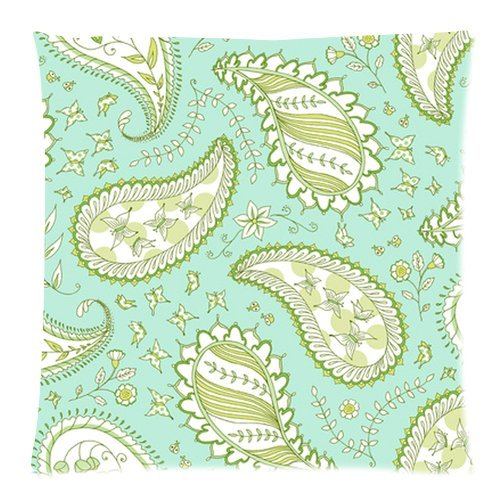 """Sky Blue Floral Butterfly Paisley Pattern Custom Zippered Pillow Cushion Case Throw Pillow Covers 20""""X20""""(Two Sides) Fabric Cotton And Polyester front-972002"""