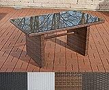 CLP-Polyrattan-Tisch-FISOLO-bis-zu-4-Farben-whlbar-Gartentisch-Gre-ca-140-x-80-cm-Hhe-66-cm-braun-meliert