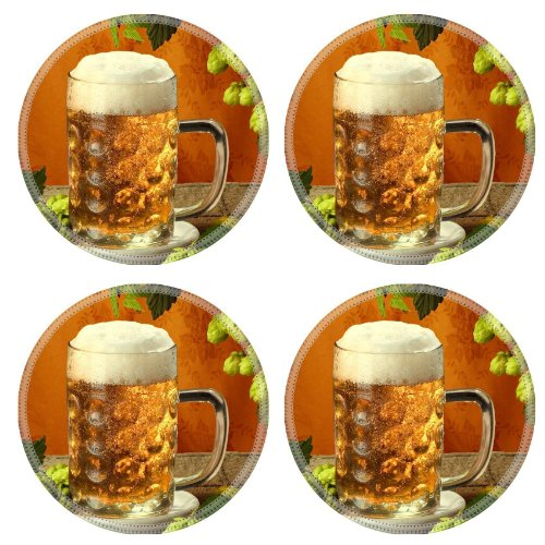 Cold Refreshing Jug Beer Beverage Round Coaster (4 Piece) Set Fabric Rubber 5 Inch Size Luxlady Coaster Cup Mug Can Water Bottle Drink Coasters Stain Resistance Collector Kit Kitchen Table Top Desk front-1056195