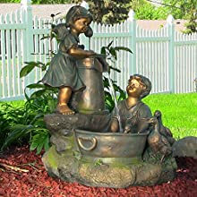 Sunnydaze Country Children and Water Pump Fountain with LED Lights 33 Inch Tall