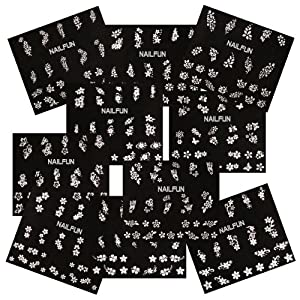 10 packungen nail sticker weiss mit strass glitzerpunkten. Black Bedroom Furniture Sets. Home Design Ideas