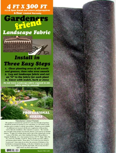 4 FT x 300 FT Weed Barrier Landscape Fabric