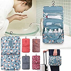 Evana 1Pcs Portable Cosmetic Toiletry Bag Storage Make up Pouch Travel Organizer with Large Capacity & Hanging Hook (Assorted Colors)